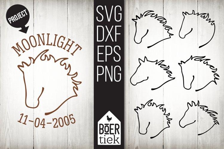 Horsehead line art, horses, cutting file