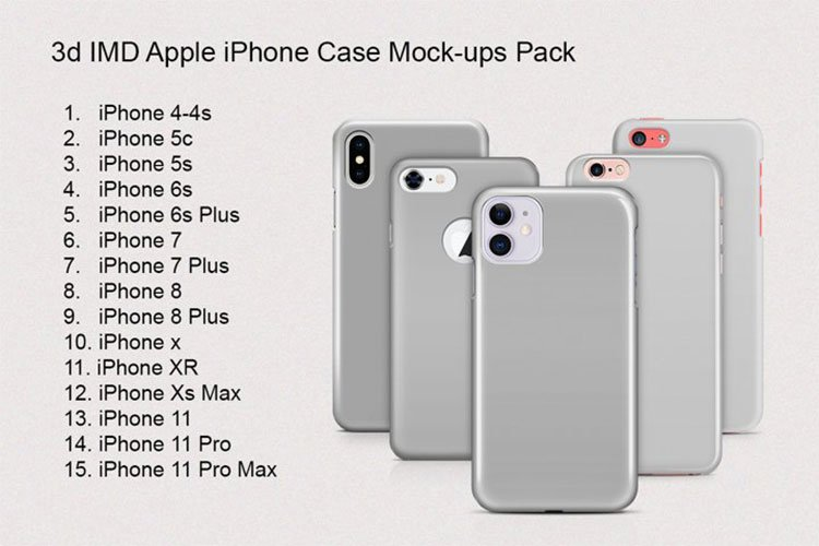 iPhone IMD 3d Phone Case Mock-ups Pack example image 1