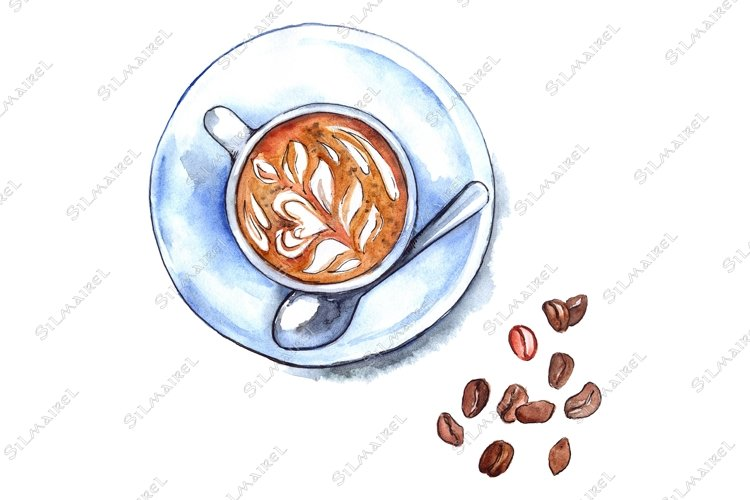 Watercolor cup of coffee drink beans arabica isolated example image 1
