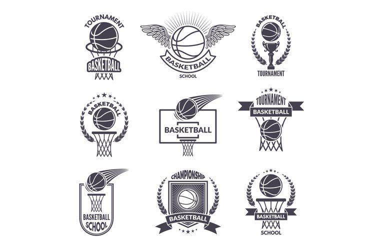 Sport labels for basketball club. Vector badges for champion example image 1