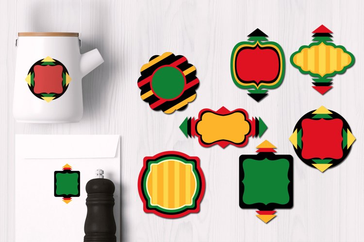 Kwanzaa Frames and Labels Graphics example image 1