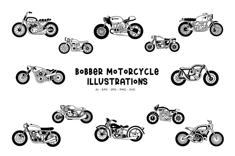 Bobber Motorcycle Illustrations