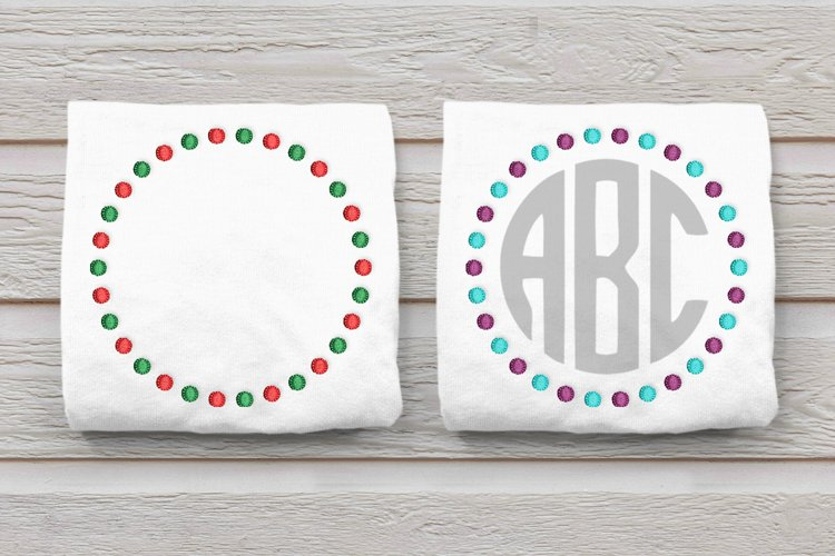 Dual Dot Round Monogram Frame Embroidery Design