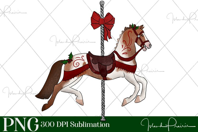 Christmas Carousel Horse with Holly Sublimation File