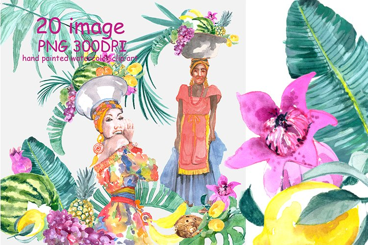 Tropical Watercolor Clipart example image 1