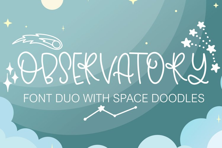 Observatory Font Duo With Space Inspired Doodles example image 1