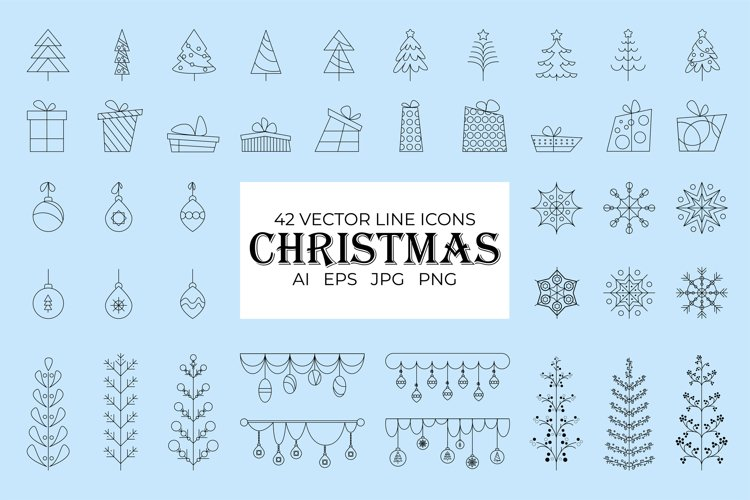 42 vector line Christmas icons example image 1