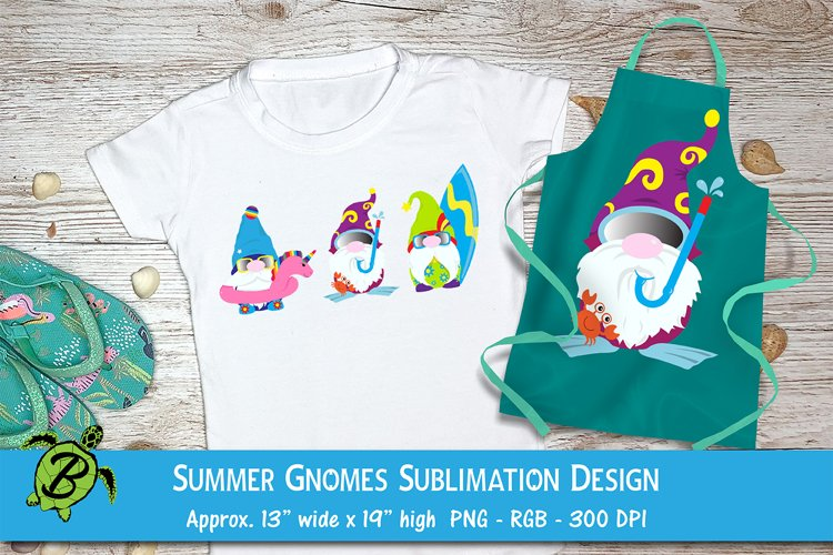 Sublimation Designs For T Shirts Summer Gnomes   Beach Gnome example image 1