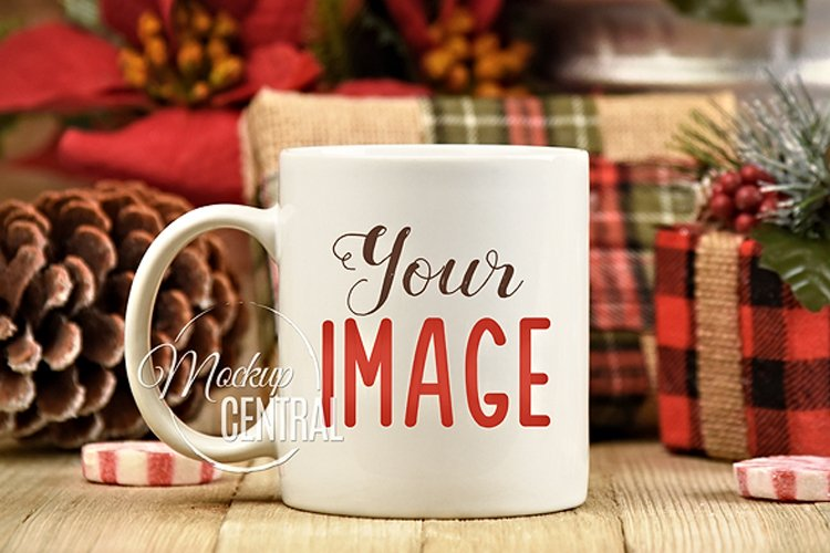 White Christmas Coffee Glass Mug Mock Up, JPG Cup Mockup example image 1