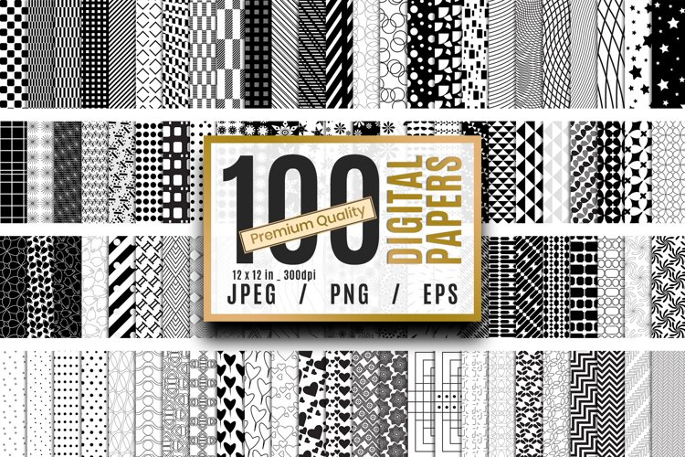 100 Black and White Premium Quality Digital Papers Vol.01