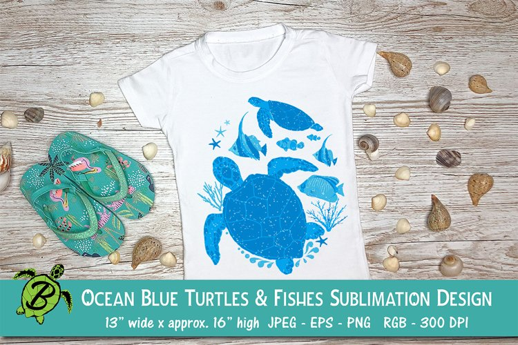 Sublimation Design for T Shirts   Blue Turtles and Fishes