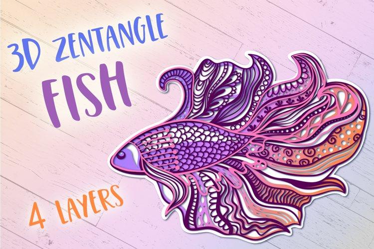 3D Zentangle Fish | 3D Papercut SVG