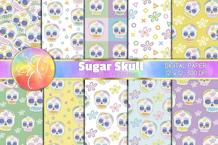 SEAMLESS Paper Sugar Skull, 10 Seamless Backgrounds example image 1