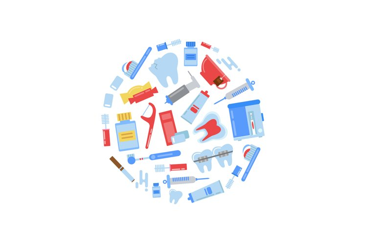Vector flat style teeth hygiene icons circle concept illustr example image 1