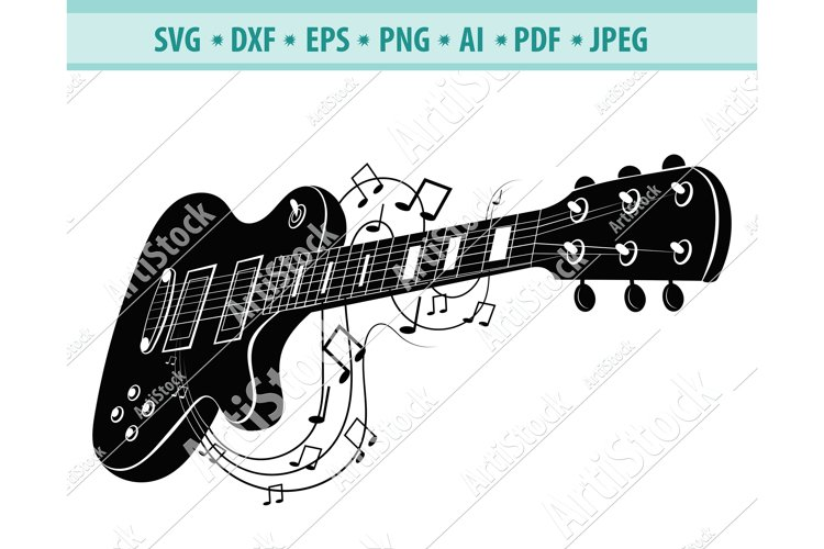 Electric guitar SVG, Guitar notes DXF, Rock music Png, Eps example image 1