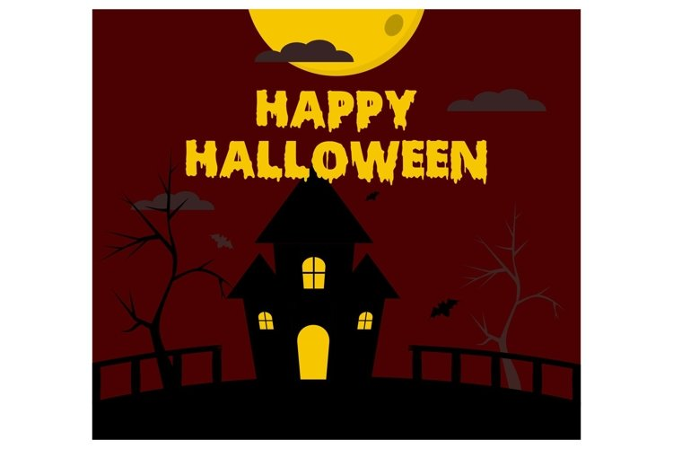 Halloween gate Spooky House flat design example image 1