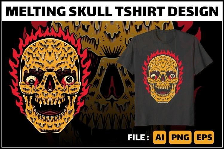 Melting skull tshirt design example image 1