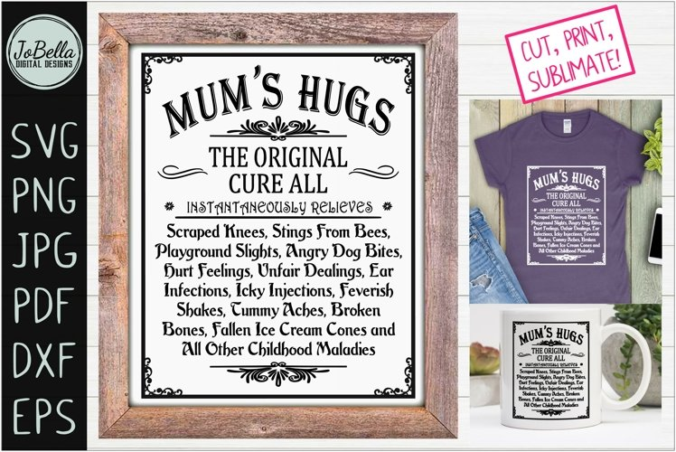 Mums Hugs SVG and Printable Mothers Day Farmhouse Design