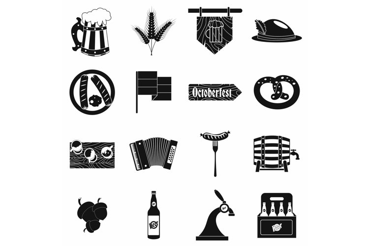 Oktoberfest party black simple icons example image 1