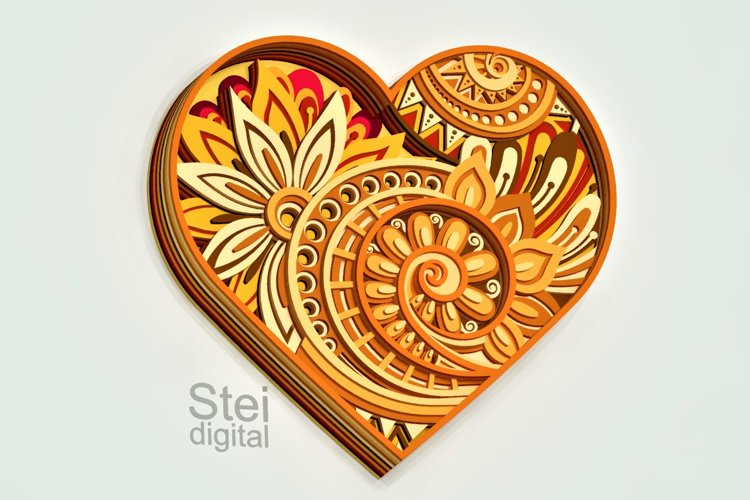 3d floral Heart layered design Cricut svg, laser cut file.