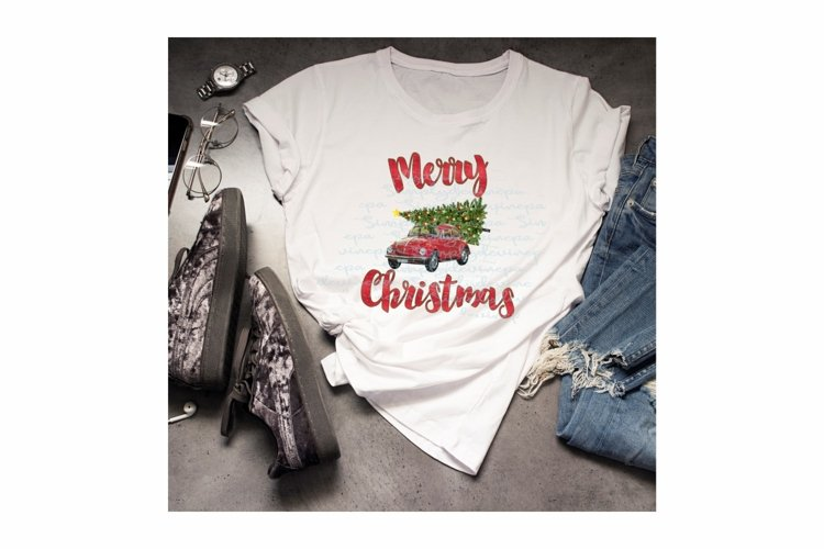 Sublimation Design -Merry Christmas Beetle example image 1
