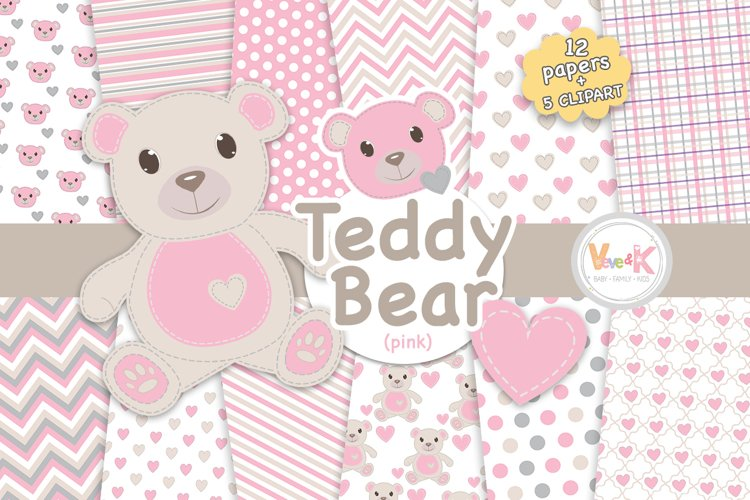 Pink Teddy Bear Digital Papers, Stitched Bear Clipart, Baby Pink Paper Pack, Baby DIY, Stitch Pink Teddy Bear, Baby Pink and Grey