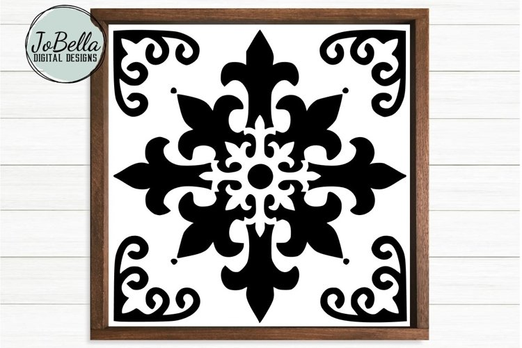 Spanish Tile 2 SVG, Stencil Template and Printable
