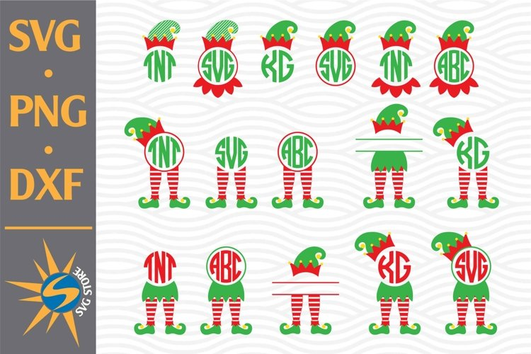 Elf Monogram, Elf Leg Monogram SVG, PNG, DXF Digital Files example image 1
