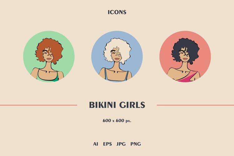 Bikini Girls. Vector Illustration.