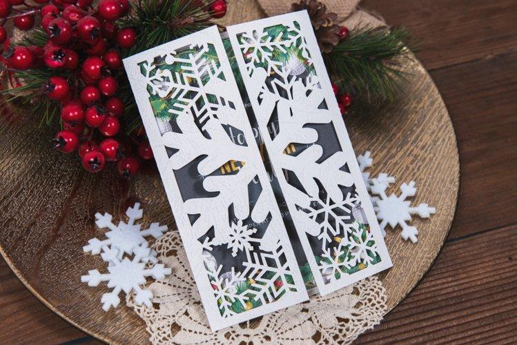 White Christmas Snowflake Invitation cutting file example image 1