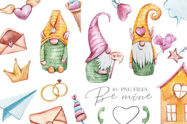 Watercolor Valentine gnomes clipart set. Cute love clipart example image 1