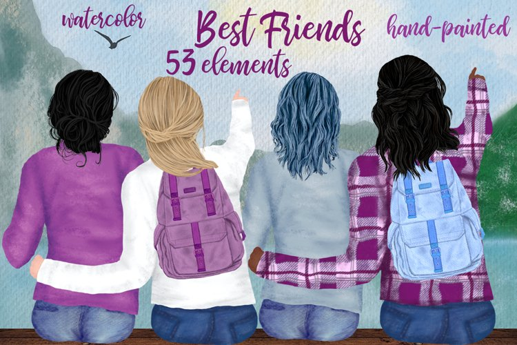Girls clipart,BEST FRIEND CLIPART,Planner Girls Mug Designs example image 1