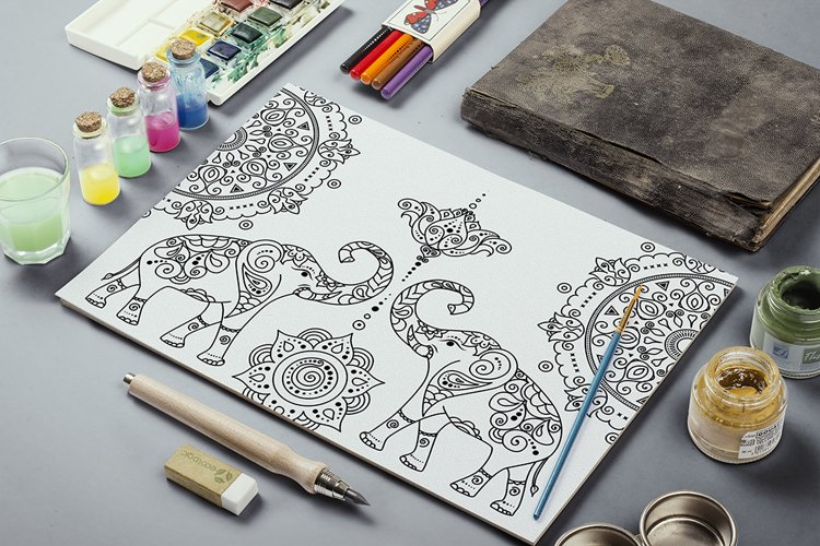 4 east asian style zen doodle elephant and mandala coloring