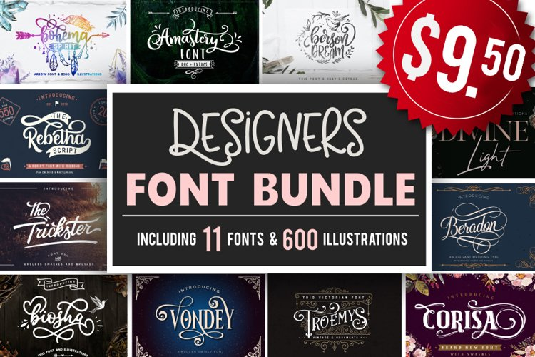 Designers font Bundle 11 Fonts example image 1