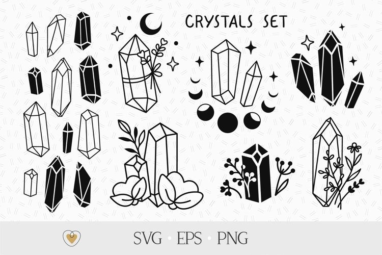 Crystal bundle svg, Crystals with flowers and moon png