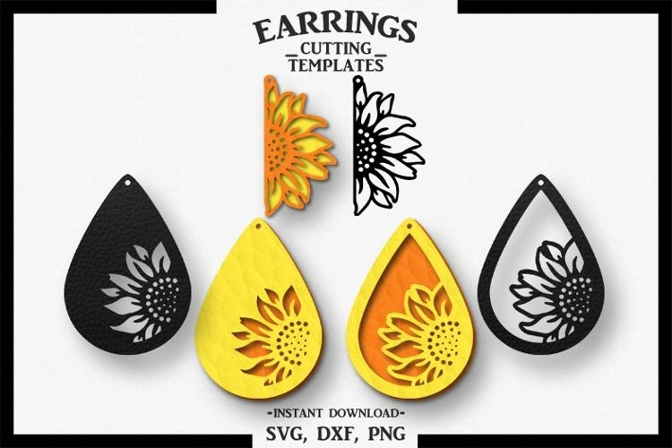 Sunflower Earring, Silhouette Cameo, Cricut, Cut,SVG DXF PNG