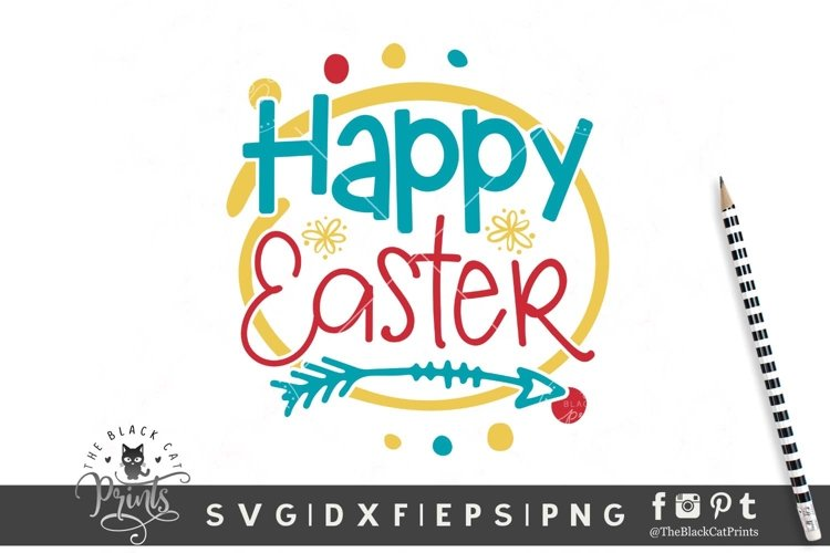Happy Easter SVG | Easter Cut File | Easter Flowers SVG example image 1