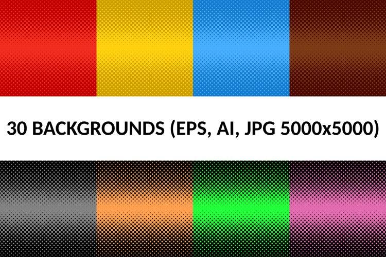 30 Halftone Dot Backgrounds AI, EPS, JPG 5000x5000