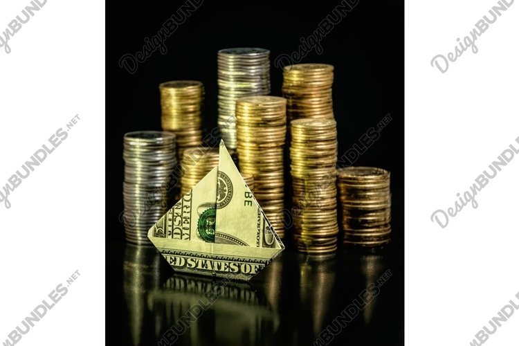 Crumpled dollar bill and cent coins example image 1