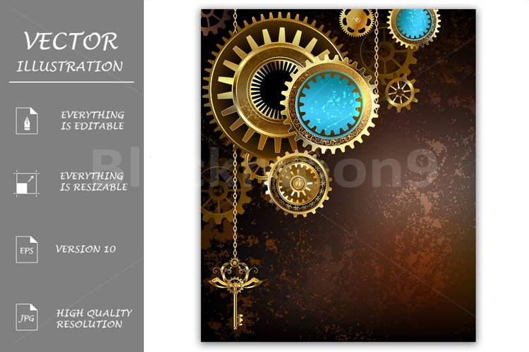 Gears on Rusty Background ( Steampunk ) example image 1
