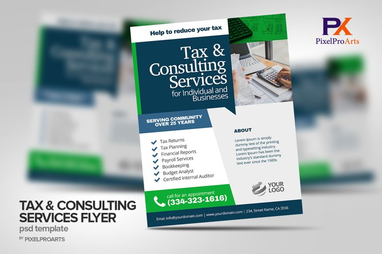 Tax & Consulting Services Flyer Poster Template example image 1
