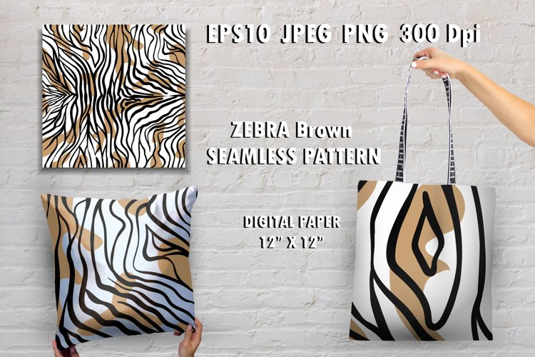 Zebra skin brown seamless pattern Animal print digital paper example image 1