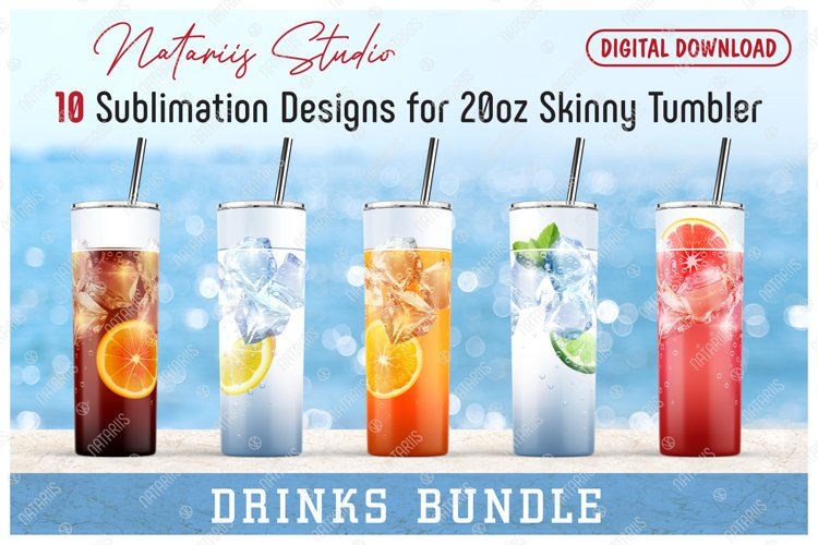 10 Realistic Drinks Patterns for 20oz SKINNY TUMBLER. example image 1