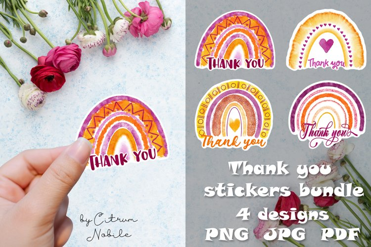 Thank you rainbow stickers bundle for small business owner