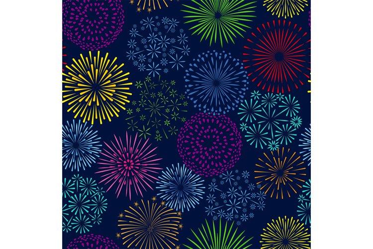 Night firework seamless pattern. Celebration fireworks vecto example image 1