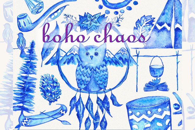 Owl clipart, boho clipart, indian clipart, owl clip art