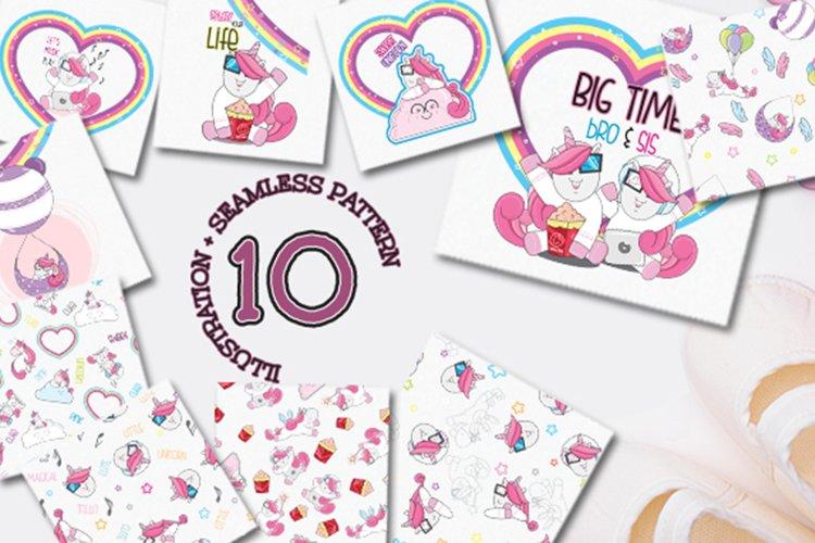 Set of Cute Seamless Pattern Unicorns