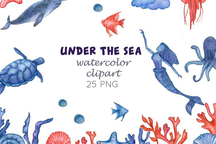 Watercolour sea life Ocean animals