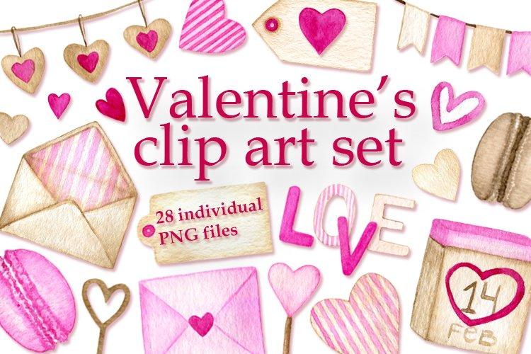 Watercolor Valentines clip art set