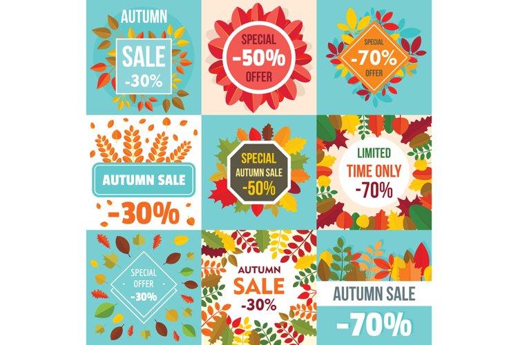 Autumn sale fall season concept set, flat style example image 1